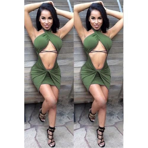 Sexy Women Hanging Neck And Backless With Sleeveless Bandage Dress Army Green