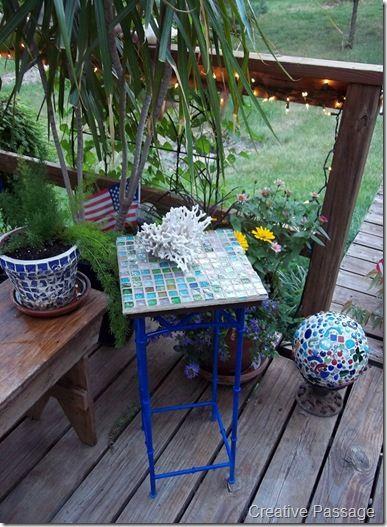 Repainted Rummage Sale Metal Table Diy Mosaic Tile Top Plant