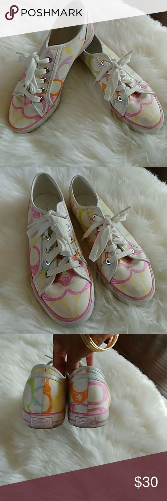 Women's coach tennis shoes Pastel coach tennis shoes, wore twice, just not a tennis shoe gal. Still in good shape, ready for a new home. Coach Shoes Sneakers