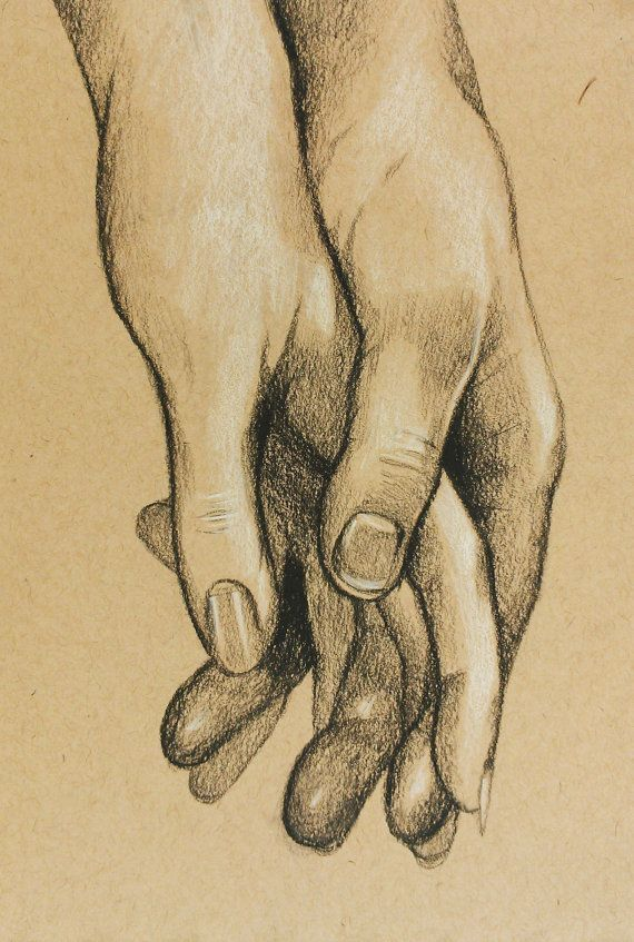 Cute Original Charcoal Drawing of Hands Holding for Anniversary, Wedding, Birthday, or Valentine's Day. 5.75x8.5""