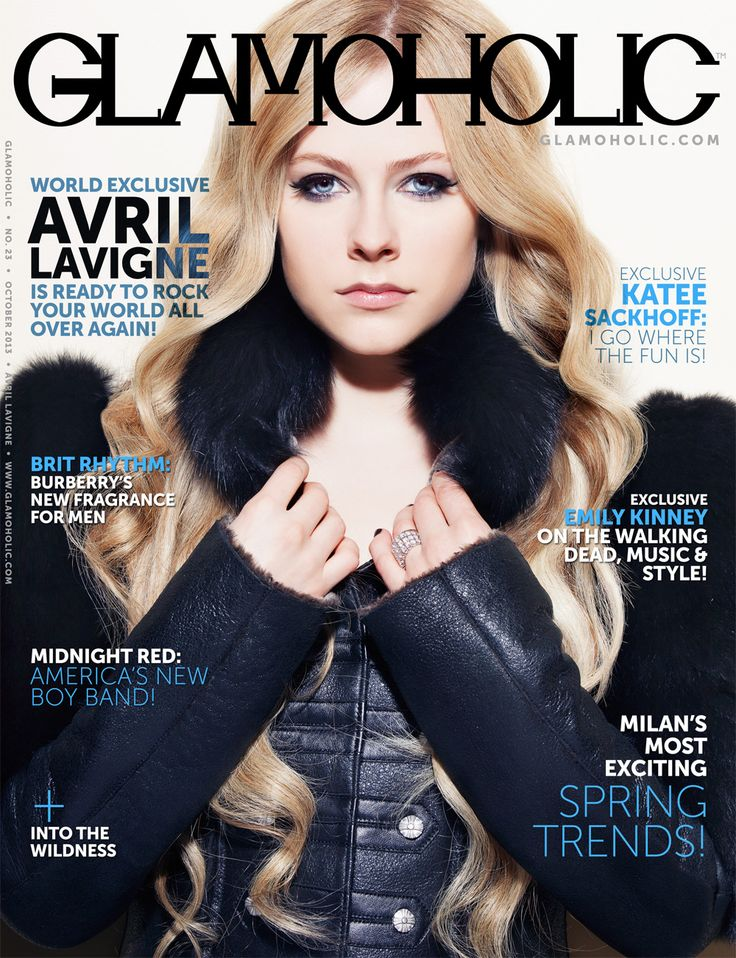 NEED THIS! MIDNIGHT RED IS IN THIS ISSUE!! NOW RELEASED: Avril Lavigne Covers The October 2013 Issue of Glamoholic magazine. Avril Lavigne on Her New Album, Upcoming Tour and Marriage. Katee Sackhoff: I Go Where The Fun Is! Emily Kinney on The Walking Dead, Music and Style. Midnight Red: America's New Boy Band! Into The Wildness - Womenswear Editorial.  http://www.glamoholic.com   #avrillavigne #glamoholic #magazine #cover.