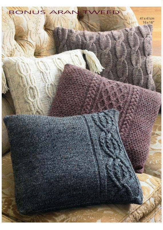 Vintage Aran cushion cover set knitting pattern by knitcheap, £0.99                                                                                                                                                     More