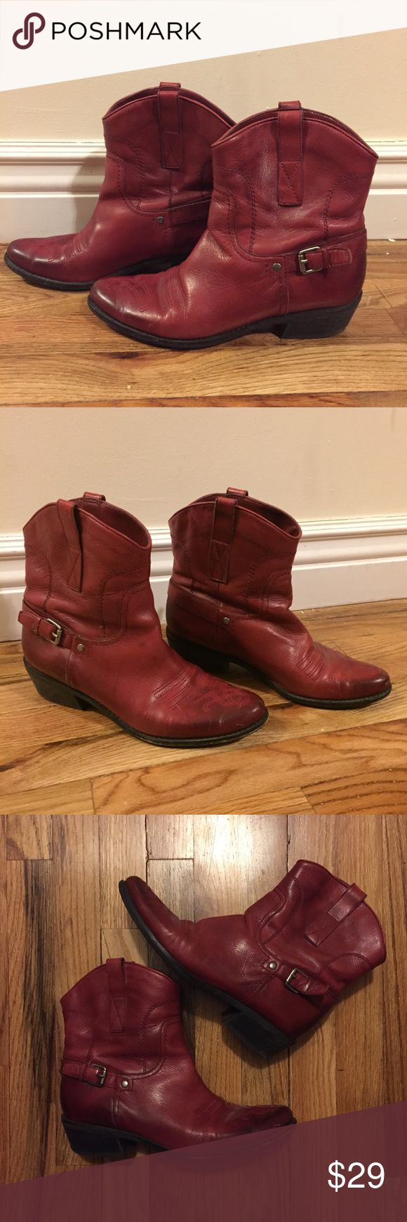 """Red Leather Cowboy Ankle Boots Franco Sarto oxblood red leather pull on ankle boots with burnished effect at toe & heel gives these western boots a polished modern look. Classic western cowboy stitching at toe with 1-1/2""""H stacked heel. Strap buckle detail at ankle with matte silver hardware. Size women's 8.5 M. In good used condition. A couple of thin scratch  marks at front toes & some wear on left sole shown in pic. Some wear on back heels. Add a stylish pop of color with your fav pair of…"""