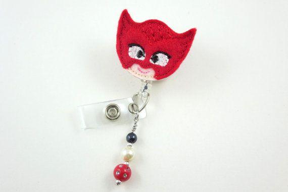Eroe di coricarsi PJ maschera rosso-retrattile ID Badge Holder-nome distintivo titolare-infermiera Badge-distintivo Clip-Badge ID Badge bobine--RN-assistenza infermieristica pediatrica