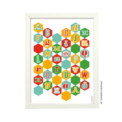 Graphic print – Retroalfabet 30x40 cm. Get it in my webshop: nordicdesigncollective.se