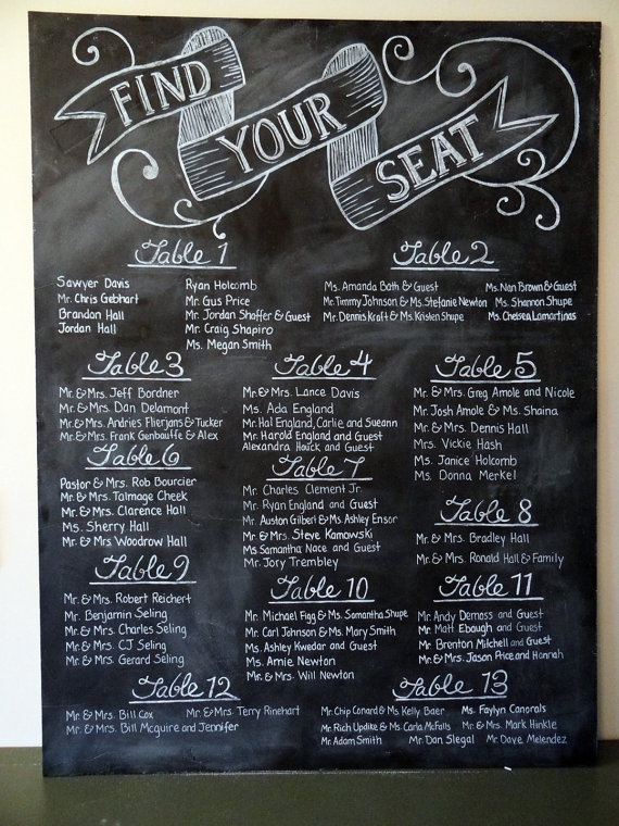 Custom Seating Chart  Seating Chart Chalkboard  by LilyandVal, $339.00 how about I make my own like this