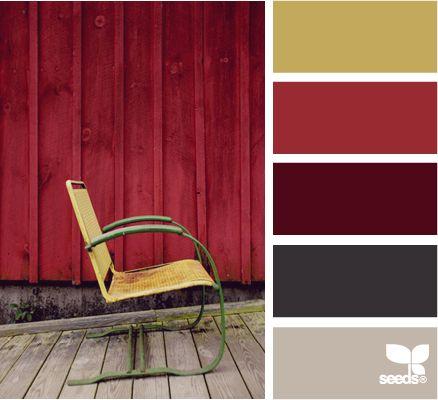Lovely: Color Palettes, Color Inspiration, Color Schemes, Paint Colors, Seated Hues, Colour Palettes, Red Accent