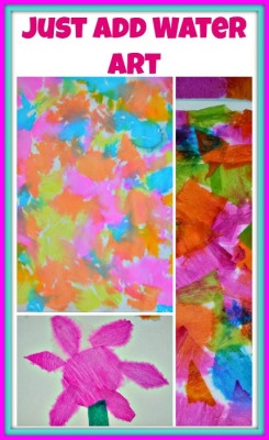This is a very easy to set up art project for kids ages 2 and above. All you need are crepe paper ( streamer paper) and water. I had crepe paper which come in sheets. But you could easily use strea...
