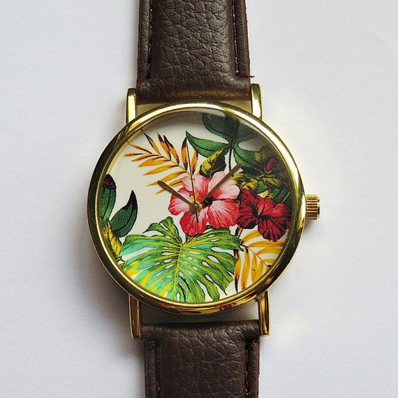 Tropical Floral Watch , Hibiscus Flowers, Vintage Style Leather Watch, Women Watches, Boyfriend Watc on Luulla
