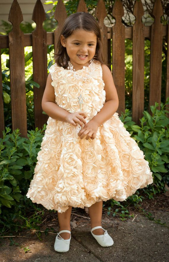 Gorgeous and unique!!  Sweet gold roses bubble dress!  A little princess will be the star of the show in this...  #kids #kidsfashion #flowergirl
