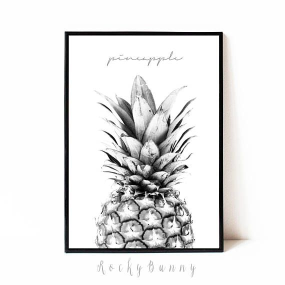 Pineapple print black and white printable poster pineapple