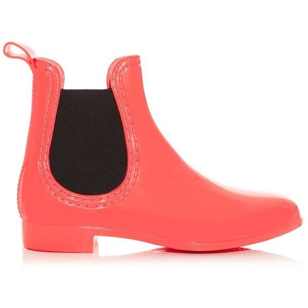 Coral and Black Chelsea Wellies ($23) ❤ liked on Polyvore featuring shoes, boots, ankle boots, coral, round toe ankle boots, rubber boots, short boots, bootie boots and black boots
