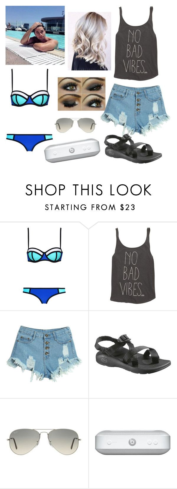 """""""Pool Day w/ Jake Miller#82"""" by tkcostner ❤ liked on Polyvore featuring Billabong, WithChic, Chaco, Ray-Ban, women's clothing, women, female, woman, misses and juniors"""