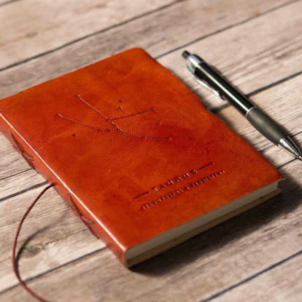 Taurus Leather Journal / Zodiac Handmade Journal / Journal of Astrology / Horoscope Journal / Gifts for Him / Travel Journal / Sketchbook / Embossed Genuine Leather Journal / Notebook