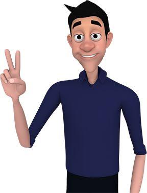 Imagem frontal da cintura para cima do Avatar do VLibras. O jovem rapaz de pele clara, magro, de olhos grandes e negros, sobrancelhas largas e escuras, cabelos curto e preto, nariz grande e largo e lábios finos usa camisa azul marinho com mangas na altura dos cotovelos e calça comprida preta. Tem mãos avantajadas sobrepostas na altura da cintura.