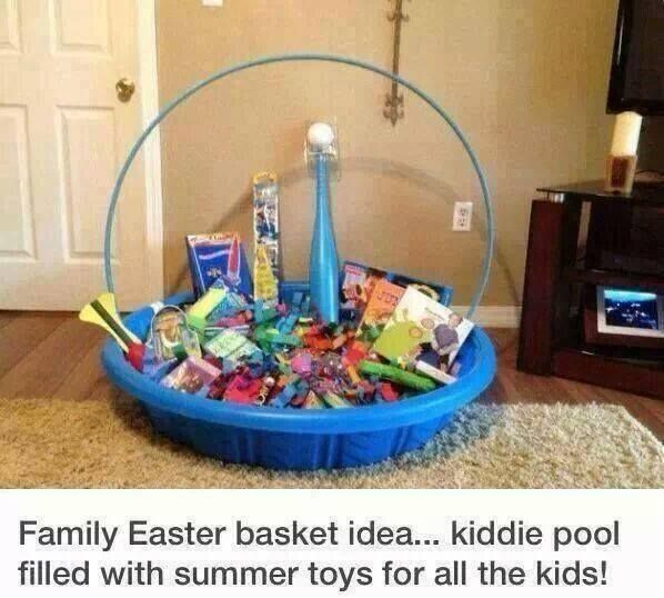 27 best easter basket ideas images on pinterest gift ideas easter basket using a baby pool and hula hoop to make one big easter basket instead of individual ones for each kid awesome idea negle Image collections