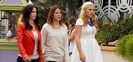 I must have Busy Philips' (far right) dress from last night's episode of Cougar Town.  Anyone know where to buy it???