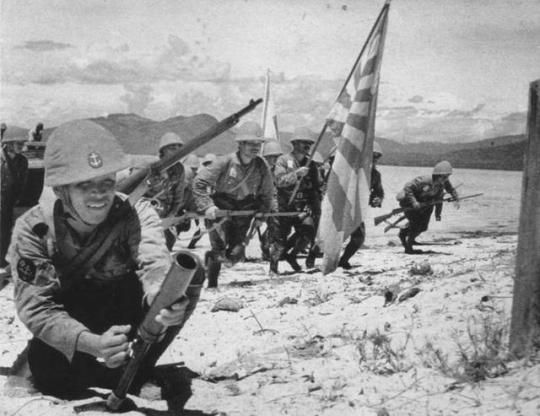 Japanese Propaganda Photo of Special Naval Landing Force Soldiers During The Invasion of The Dutch East Indies. January 1942.