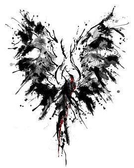 Phoenix, Tinte, Tattoo, Flügel