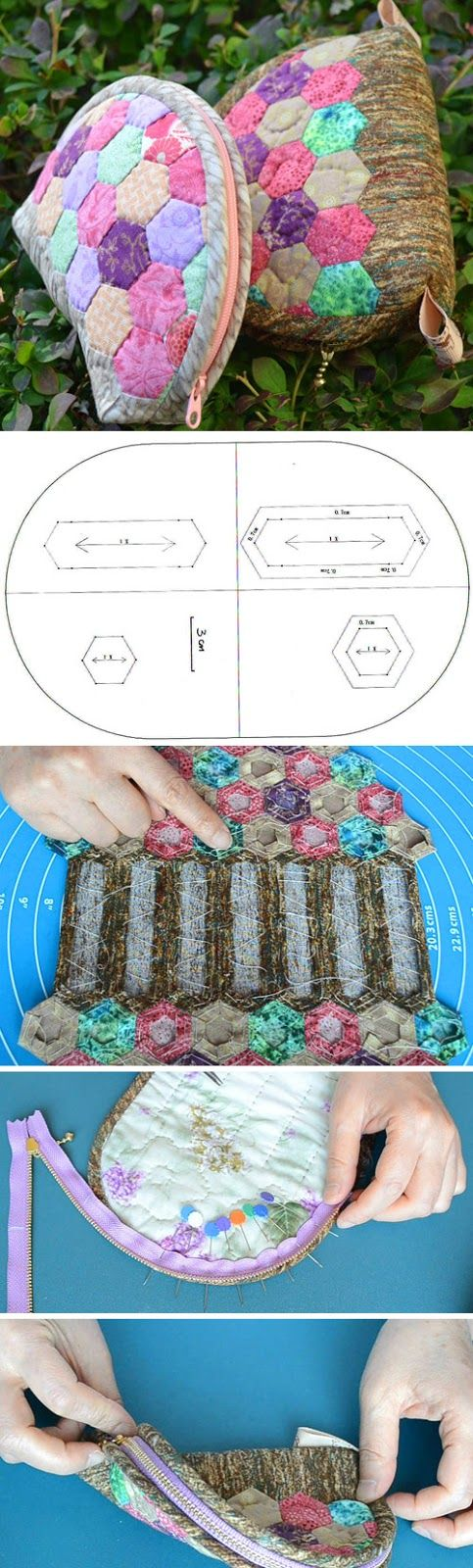 Hexagon Patchwork Purse Tutorial. How to Sew Photo Sewing Tutorial. http://www.handmadiya.com/2016/04/hexagon-patchwork-purse-tutorial.html