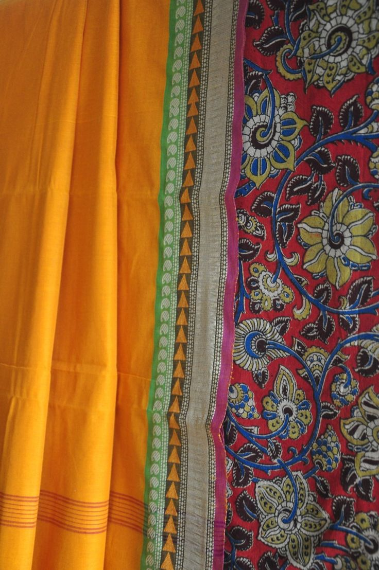 The rich and vibrant hues of Chettinad cotton sarees and hand block printed Kalamkari cotton blouse make for a striking combination! See more images on our Facebook page: www.facebook.com/omnah