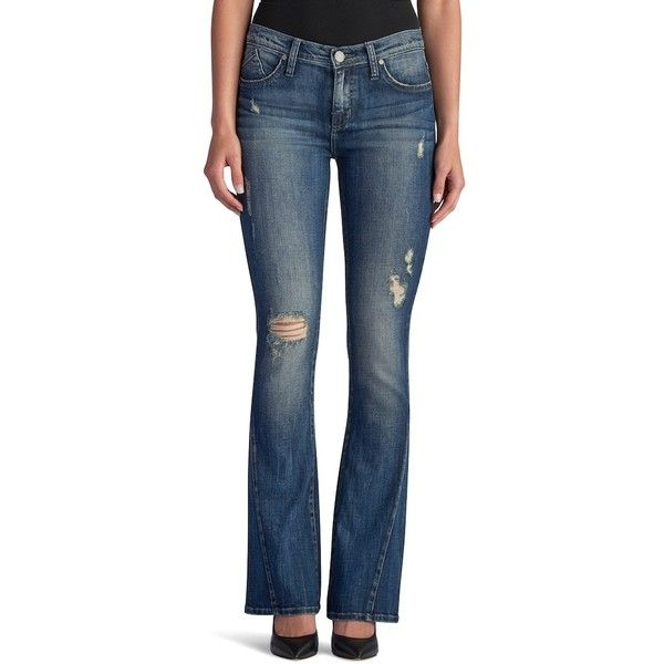 Women's Rock & Republic® Kasandra Destructed Slim Bootcut Jeans ($60) ❤ liked on Polyvore featuring jeans, med blue, petite, boot-cut jeans, slim bootcut jeans, petite flare jeans, destroyed bootcut jeans and petite short jeans