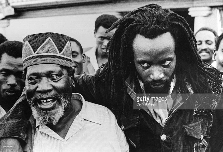 Prime Minister of Kenya and leader of the movement for Kenyan independence Jomo Kenyatta (c1889 - 1978) with the Mau Mau leader Field Marshal Mwariama.