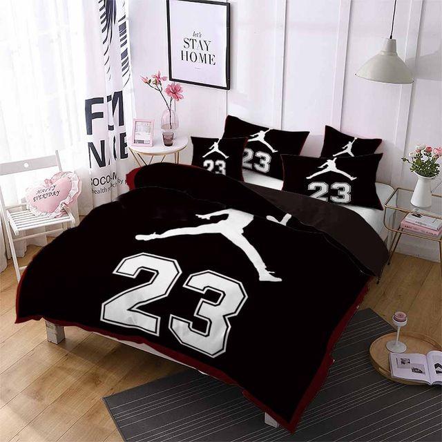Black 23 Jordan Bedding Set In 2020 Sports Bedding Boys Duvet Cover Bedroom Bedding Sets