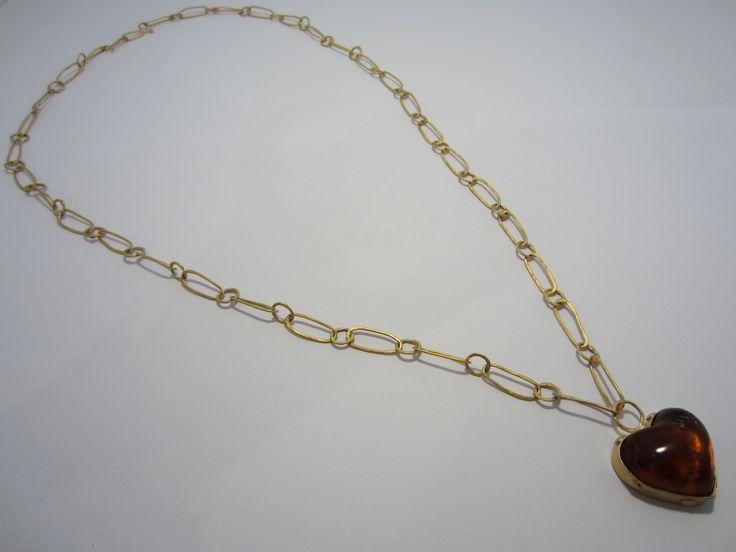 Anna Balasouglou - Kauri Gum Necklace - kauri gum, 24ct gold plated copper