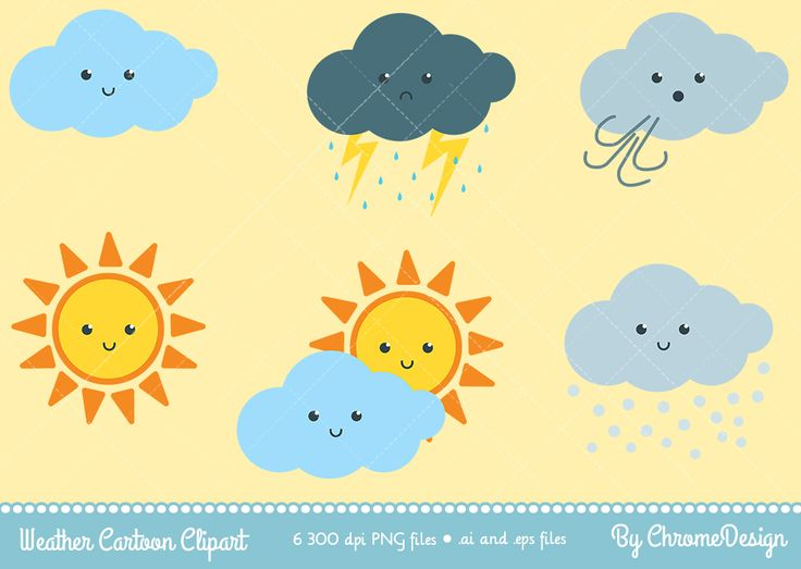 Cute Weather Cartoon Clipart - Instant Download!