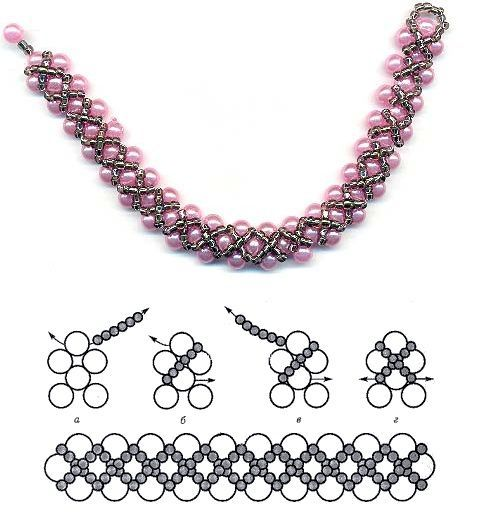 Este es un bonito esquema para hacer una pulsera o colgante de abalorios con perlas y rocalla de diferentes colores y tamaño. Es perfecto p...