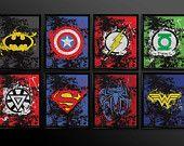 Set di 2 stampe supereroe parete Art Decor di TheCuttingEdgeShop