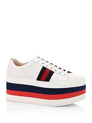 Gucci Peggy Leather Rainbow Platform Sneakers