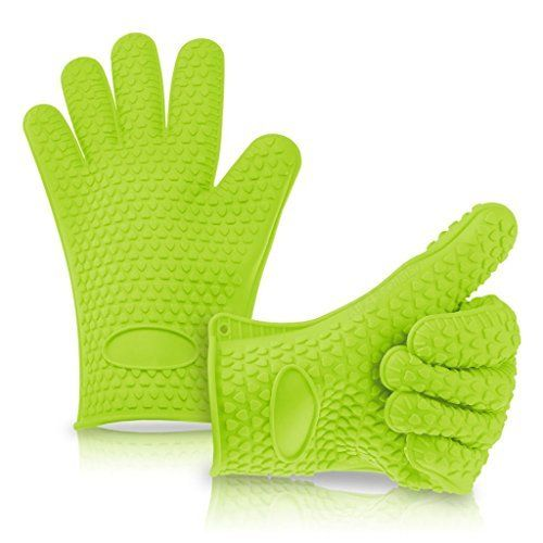 Silicone Heat Resistant BBQ Oven Mitts Green - Oven Mitts & Potholders