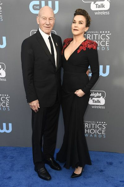 Actor Patrick Stewart (L) and singer Sunny Ozell attend The 23rd Annual Critics' Choice Awards at Barker Hangar on January 11, 2018 in Santa Monica, California.