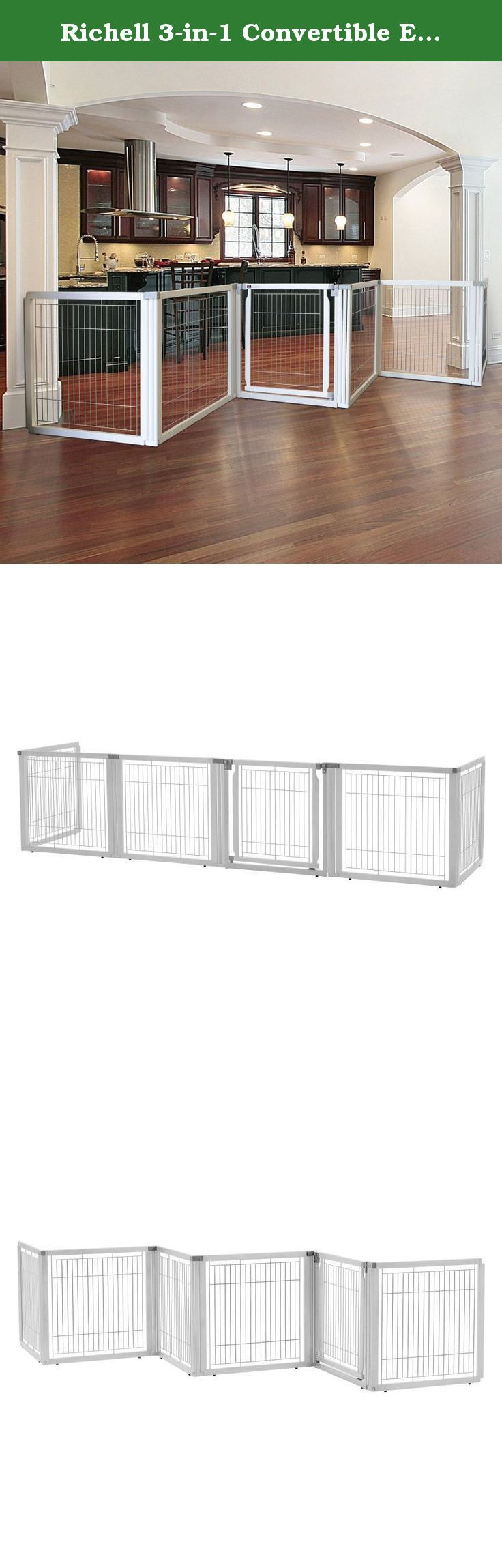 Richell 3-in-1 Convertible Elite Pet Gate White. Richell(R) Convertible Elite Pet Gate The luxury of three pet products in one: the award-winning Convertible Elite Pet Gate converts quickly and easily from a free standing pet gate - to a room divider - to a pet pen! It's specifically designed to confine your pet safely in areas with larger openings, yet fit beautifully in any home decor! The gate includes a lockable door that allows you to move freely from room to room without having to...