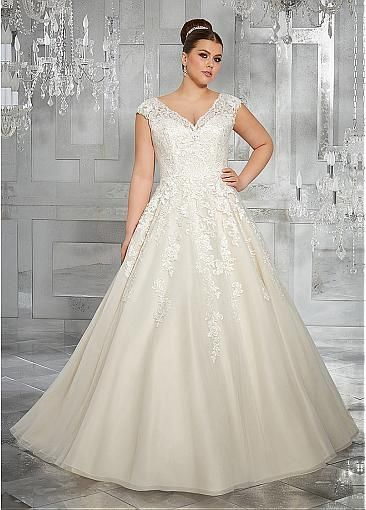4344ac2778 Gorgeous Tulle V-neck Neckline Cap Sleeves A-line Plus Size Wedding Dresses  With Lace Appliques