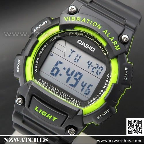 Casio Vibration Alarm 100M Digital Watch W-736H-3AV, W736H