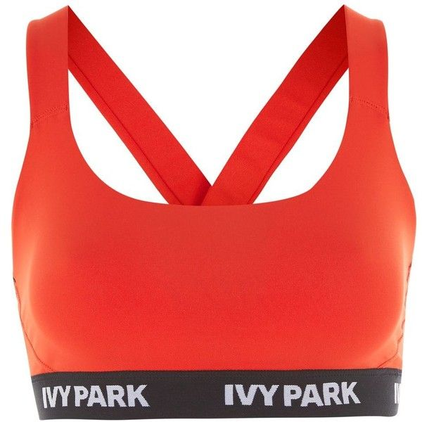 Logo v Back Mesh Bra by Ivy Park ($28) ❤ liked on Polyvore featuring activewear, sports bras, logo sportswear and red sports bra