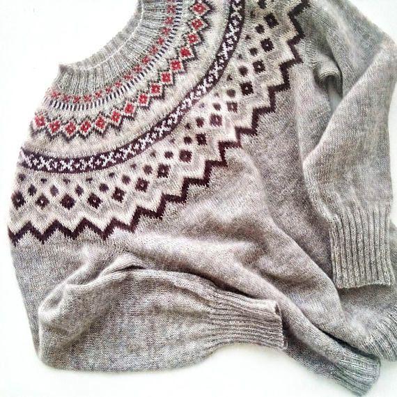 Lopapeysa  Icelandic wool sweater  kid mohair sweater