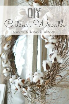 This gorgeous and easy DIY Cotton Wreath is perfect for Fall!