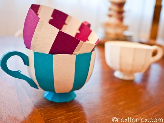 Print & Fold Paper Tea Cup Template (includes  Print & Fold Lid for filling with tea bags & giving as a gift -so cute!)