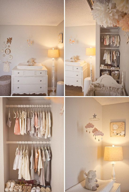 """Light Pink cloud mobile for nursery """"CHERRY BLOSSOM"""" with gold star by The Butter Flying-Rain Cloud Mobile Nursery Children Decor. $59.00, via Etsy."""