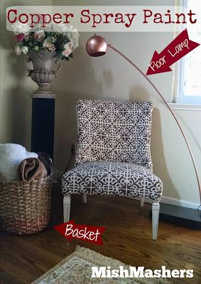 Copper Spray Paint - Lamp redo and dipped basket how to