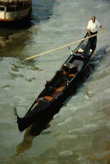 """gondolier by Robert Lemler Oil ~ 24"""" x 18"""" Venice, 1989, with our daughter and good friend...  K.W."""