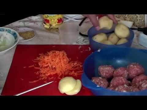Тефтели с картофелем в казане  Вкусные тефтели с вареной картошкой