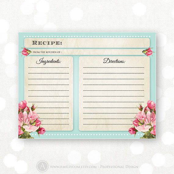 Printable Recipe Cards Teal & Pink Flowers INSTANT by AmeliyCom