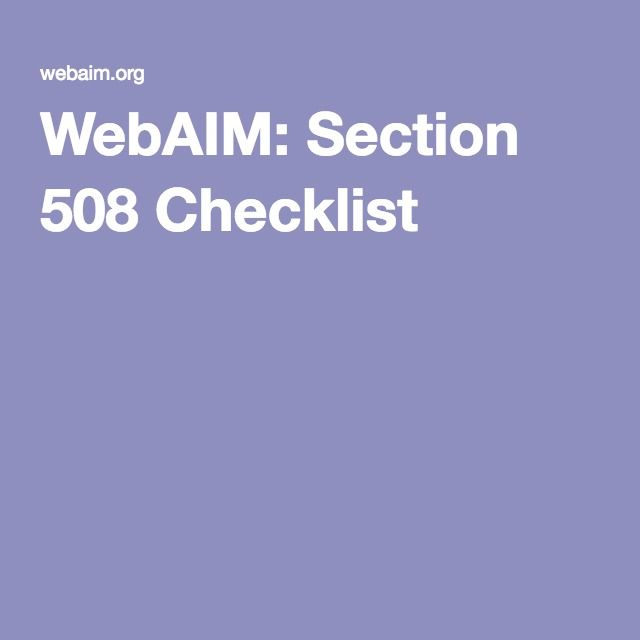 Section 508 of the Rehabilitation Act: Checklist with pass/fail descriptions.