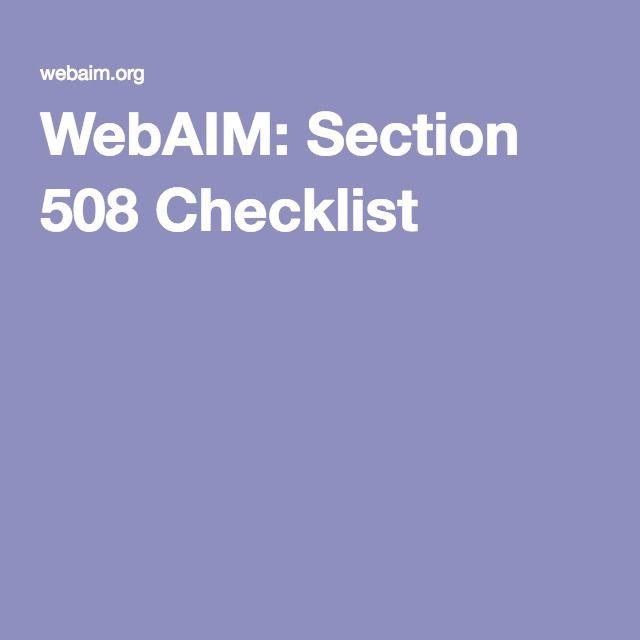 WebAIM: Section 508 Checklist