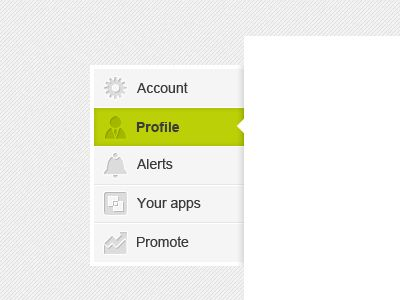 dribbble sidebar webdesign menu